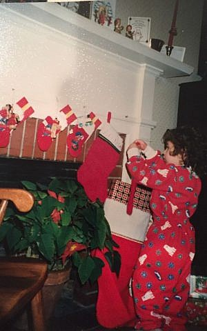 A young Ella Goldberg celebrating her 'mom's holiday,' Christmas. (courtesy)