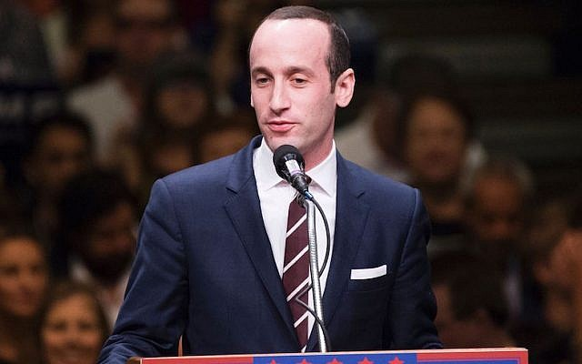 Stephen Miller speaking at a Donald Trump campaign rally in Anaheim, California, May 25, 2016. (Robyn Beck/AFP/Getty Images)