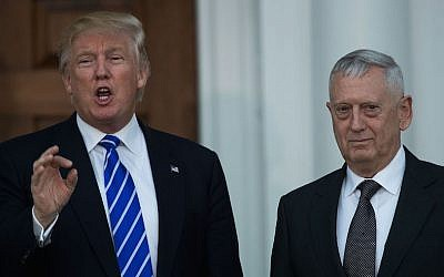 President-elect Donald Trump with retired Gen. James Mattis following their meeting at Trump International Golf Club in Bedminster Township, N.J., Nov. 19, 2016. (Drew Angerer/Getty Images/JTA)
