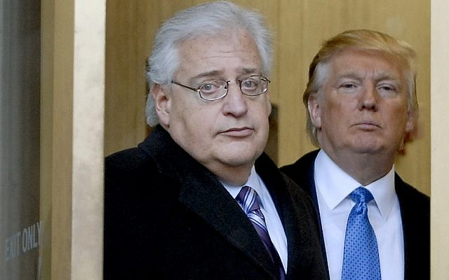 Donald Trump and attorney David Friedman exit the Federal Building, following an appearance in US Bankruptcy Court on February 25, 2010, in Camden, New Jersey. (Bradley C. Bower/Bloomberg News, via Getty Images/JTA)