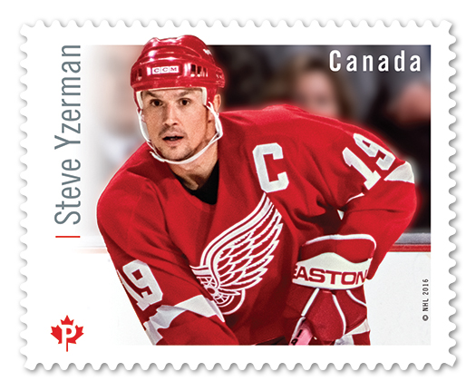 Stamp from the 'Great Canadian Forwards' series, featuring Detroit Red Wings former captain, Steve Yzerman. (Courtesy)