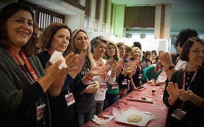 The Greek delegation of the Jewish Women's Renaissance Project baking challahs in Jerusalem in 2015. (Courtesy of Jewish Women's Renaissance Project/via JTA)
