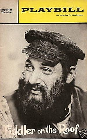 Herschel Bernardi on the Playbill cover for the Broadway production of 'Fiddler on the Roof' as Tevye, a role he played in the 1960s and 1980s. (courtesy)