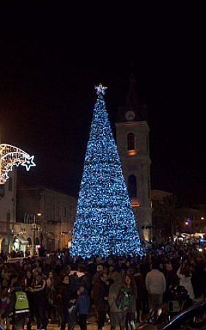 The 15-foot Christmas tree at Jaffa's clocktower square (Courtesy City of Tel Aviv-Jaffa)