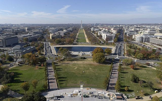 File: Inaugural preparations on the West Front of Capitol Hill in Washington, looking at the National Mall and Washington Monument, November 15, 2016. (AP Photo/Susan Walsh)