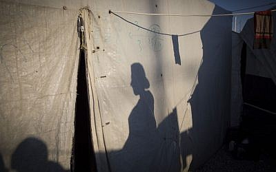 A tent at a Yazidi refugee camp in August, 2016. (IsraAID)