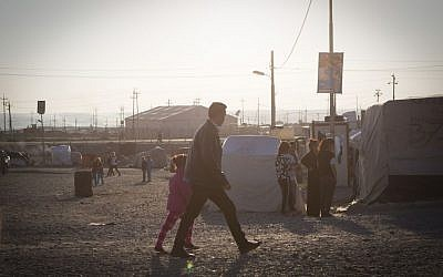 Refugees at an IDP camp in Dohuk, Iraq, August 2016 (IsraAID)