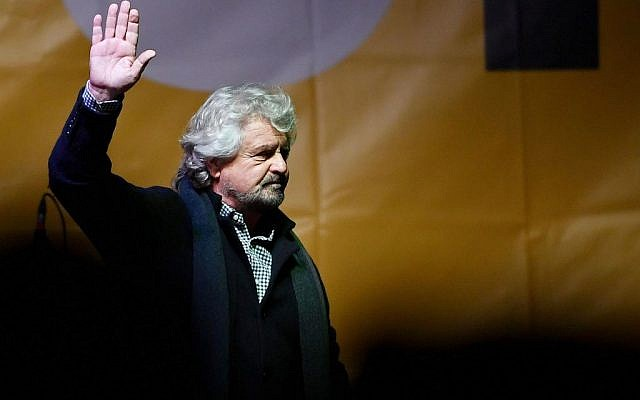 Leader of Five-Star Movement Beppe Grillo addresses a rally ahead of the Italian constitutional referendum in Turin, Italy, December 2, 2016. (Alessandro Di Marco/ANSA via AP)