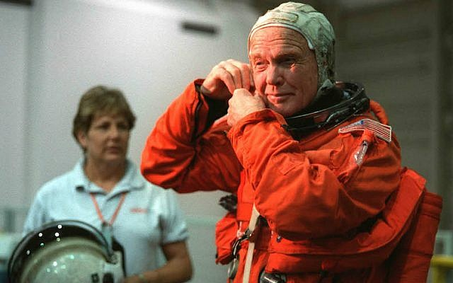 John Glenn suiting up prior to a training session at the Johnson Space Center. (NASA via Getty Images via JTA)