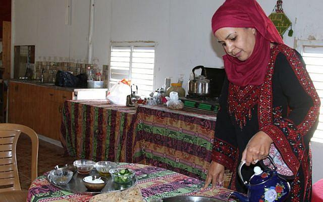 Mariam Abu Rakaek at her business, the Daughter of the Desert, in the Tel Sheva. (Shmuel Bar-Am)