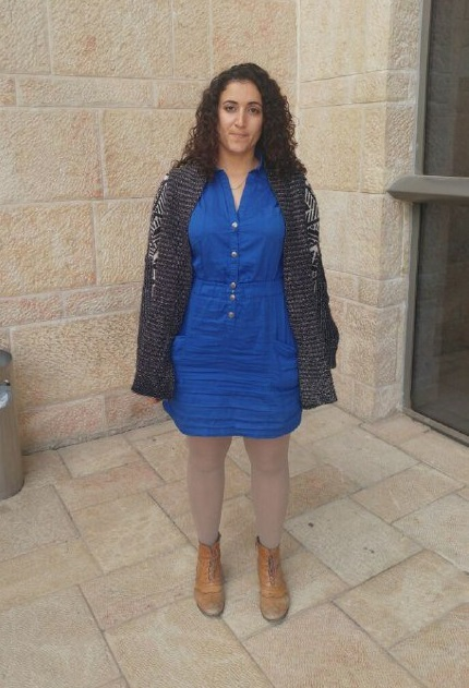 Shaked Hasson, assitant to MK Merav Michaeli, wearing the dress and leggings which were deemed inappropriate for the Knesset (Courtesy)
