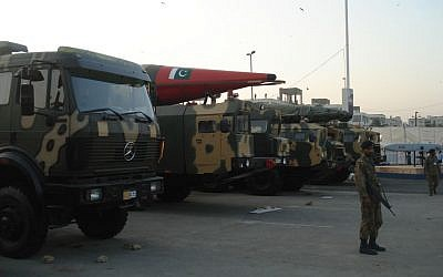 Truck-mounted missiles on display at the IDEAS 2008 defense exhibition in Karachi, Pakistan. (Wiki Creative Commons/SyedNaqvi90)