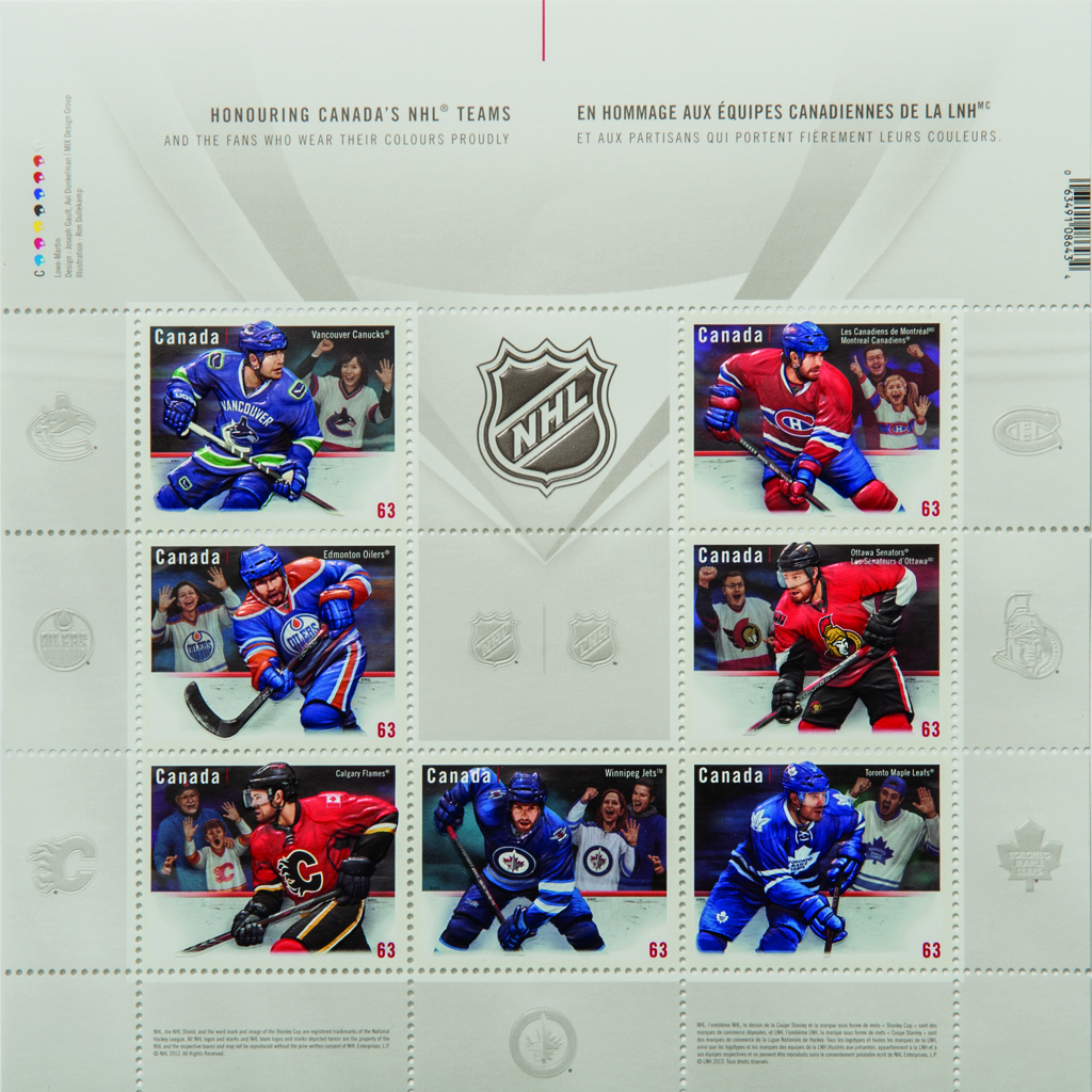 The 'Team Jersey' series, featuring stamps of each of Canada's seven NHL teams. (Courtesy)