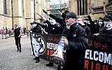 Members of the UK's neo-Nazi National Action group rally in York,  June 9, 2016. (Screen capture: YouTube)