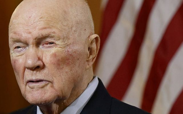 In this May 14, 2015 file photo, former astronaut and senator John Glenn answers questions during an interview at the Ohio Statehouse. Glenn died Thursday, Dec. 8, 2016, at the age of 95. (AP/Paul Vernon)