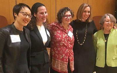 'First' women clergy discuss their challenges at a New York panel 'Breaking Boundaries, Building Communities' on December 4, 2016 (from left): Rabbi Angela Warnick Buchdahl, Rabbi Lila Kagedan, Rabbi Dianne Cohler-Esses, Jewish Women's Archive Executive Director Judith Rosenbaum, and Rabbi Sally Priesand. (courtesy)
