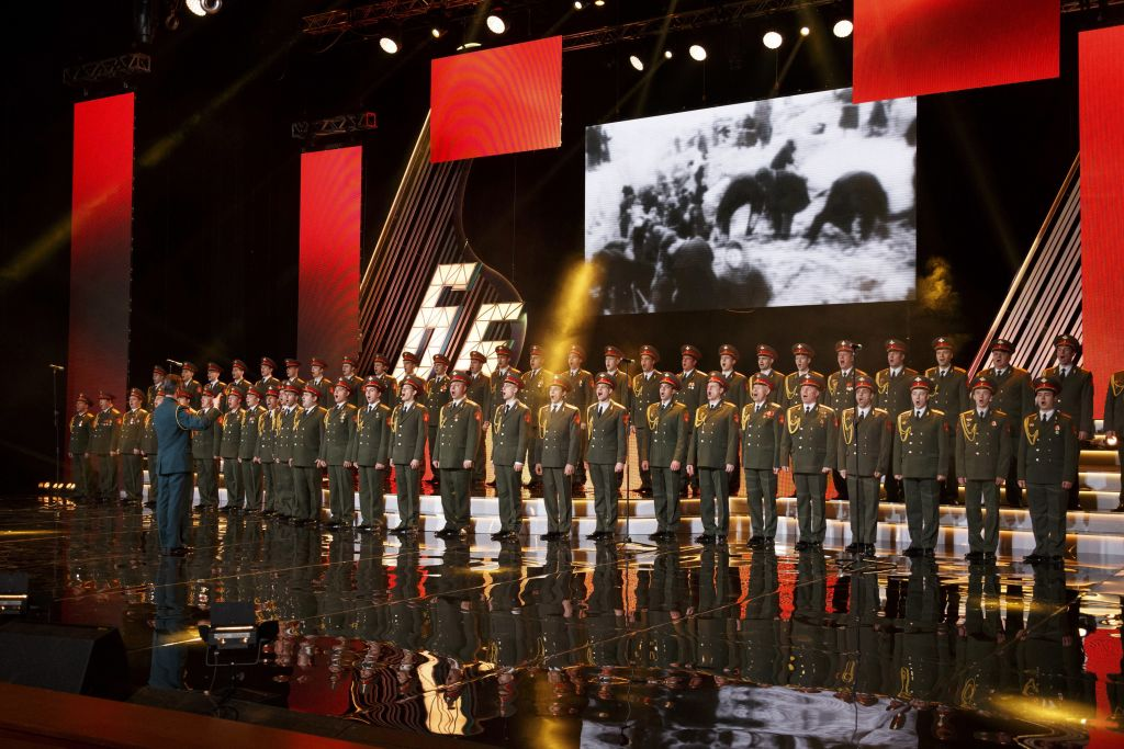 In this photo taken on Thursday, March 31, 2016, the Alexandrov Ensemble choir performs during a concert in Moscow, Russia. A Russian plane with 92 people aboard, including the well-known military band, crashed into the Black Sea on its way to Syria on Sunday, Dec. 25, minutes after takeoff from the resort city of Sochi, the Defense Ministry said. (AP Photo)