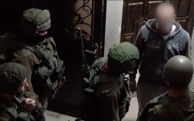 IDF troops arrest a suspected Hamas cell in the Hebron area during a joint raid with the police and Shin Bet in October, which was announced on December 8, 2016 (screen capture: YouTube)