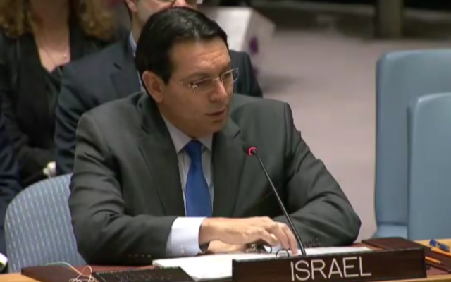 Israeli Ambassador to the UN, Danny Danon, speaks to the UN Security Council after it passed an anti-settlement resolution, December 23, 2016 (UN Screenshot)