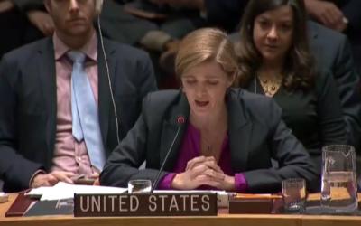 US Ambassador to the UN, Samantha Power speaks to the UN Security Council after abstaining on an anti-settlement resolution, December 23, 2016 (UN Screenshot)