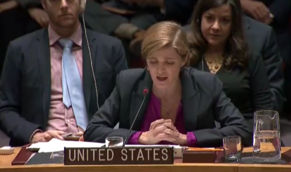 US Ambassador to the UN, Samantha Power speaks to the UN Security Council after abstaining on an anti-settlement resolution, December 23, 2016 (UN Screenshot)