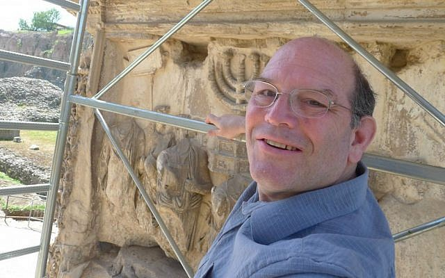 Steven Fine on scaffolding at the Arch of Titus, Rome, 2012 (Arch of Titus Project, Yeshiva University)
