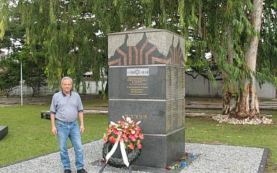Jacob Steinberg at the Paramaribo Holocaust memorial. (Courtesy)