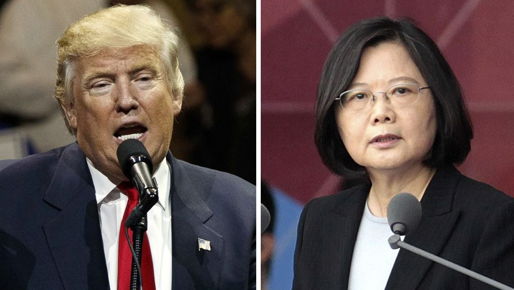 This combination of two photos shows US President-elect Donald Trump, left, speaking during a 'USA Thank You' tour event in Cincinatti Thursday, Dec. 1, 2016, and Taiwan's President Tsai Ing-wen, delivering a speech during National Day celebrations in Taipei, Taiwan, Monday, Oct. 10, 2016. Trump spoke Friday, Dec. 2, with Tsai, a move that will be sure to anger China. (AP Photo/Evan Vucci, Chinag Ying-ying)