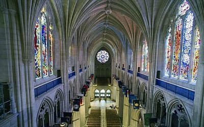 This Wednesday, Feb. 18, 2015 file photo shows the nave of the Washington National Cathedral in Washington. (AP Photo/Cliff Owen)