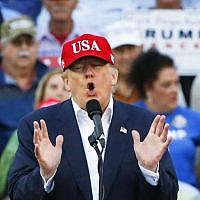 President-elect Donald Trump speaks during a rally at the Ladd–Peebles Stadium, Saturday, Dec. 17, 2016, in Mobile, Alabama. (AP Photo/Brynn Anderson)