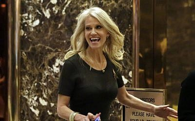 Kellyanne Conway walks through the Trump Tower lobby, in New York, Monday, Dec. 12, 2016. (AP/Richard Drew)