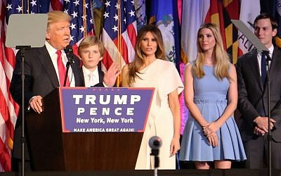 Donald Trump delivers his victory speech to his supporters in New York City on November 8, 2016, with his family members standing beside him (Eric Cortellessa/Times of Israel)