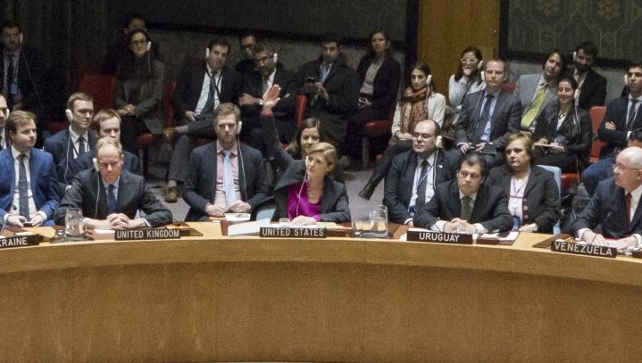 Samantha Power, center, the United States Ambassador to the United Nations, votes to abstain during a UN Security Council vote on condemning Israel's settlements in the West Bank and East Jerusalem, Friday, Dec. 23, 2016 at United Nations Headquarters. (Manuel Elias/The United Nations via AP)