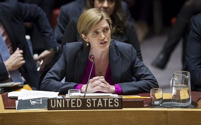 Samantha Power, US Ambassador to the United Nations, addresses the United Nations Security Council, after the council voted on condemning Israel's settlements in the West Bank and East Jerusalem, Friday, Dec. 23, 2016. (Manuel Elias/The United Nations via AP)