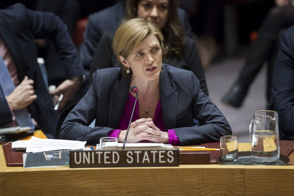 Samantha Power, U.S. Ambassador to the United Nations, addresses the United Nations Security Council, after the council voted on condemning Israel's settlements in the West Bank and East Jerusalem, Friday, Dec. 23, 2016 (Manuel Elias/The United Nations via AP)