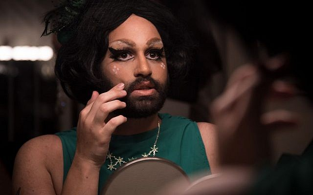Israeli drag queen Noir Styrofoam prepares for a show in Jerusalem. (Luke Tress/Times of Israel)
