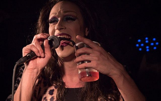 Drag queen Yosale on stage at the Videopub in Jerusalem. (Luke Tress/Times of Israel)