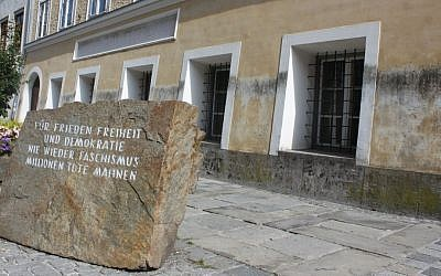 Memorial stone outside of Adolf Hitler's birthplace in Braunau am Inn, Austria. (CC BY-SA, Anton Kurt, Wikipedia)