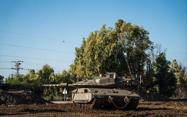A tank takes part in a training exercise near the Gaza Strip on December 6, 2016. (IDF Spokesperson's Unit)