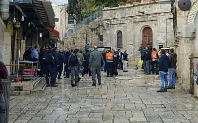 Scene of the stabbing attack in Jerusalem's Old City on December 14, 2016. (Magen David Adom)