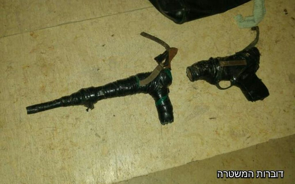 Makeshift weapons confiscated by Israeli police in the West Bank overnight Tuesday, December 20, 2016 (Israel Police)