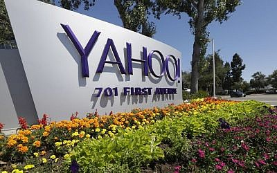 This Tuesday, July 19, 2016 photo shows a Yahoo sign at the company's headquarters in Sunnyvale, Calif. On Wednesday, Dec. 14, 2016, Yahoo said it believes hackers stole data from more than one billion user accounts in August 2013. (AP/Marcio Jose Sanchez)