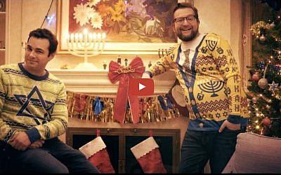 Chaimie (Jamie Elman) and Laizer (Eli Batalion) of YidLife Crisis in  'Crisismukkah' episode. (YouTube screen shot)