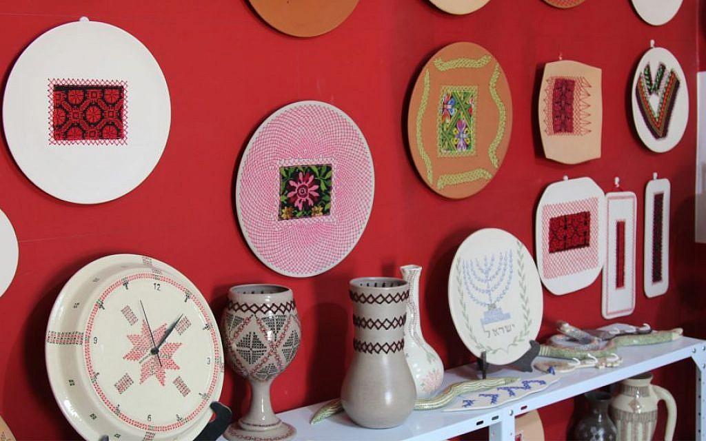 Ceramics, adorned with traditional designs, made by Bedouin artist Zenab Garabia. (Shmuel Bar-Am)