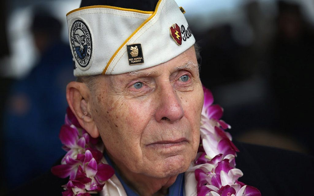 Pearl Harbor survivor Aaron Chabin, 89, attends a ceremony commemorating the 71st anniversary of the Japanese attacks on Pearl Harbor on December 7, 2012 in New York City (John Moore/Getty Images via JTA)