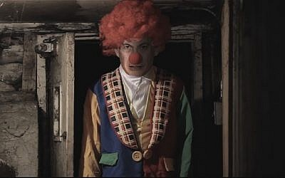 Prime Minister Benjamin Netanyahu dressed as a clown in a propaganda video released by Hamas on December 31, 2016 (YouTube screenshot)