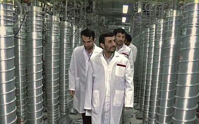 Iran's then-president Ahmadinejad visits Natanz in 2008 (Zero Days screenshot)