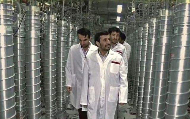 Iran's then-president Ahmadinejad visits Natanz in 2008 (Zero Days screenshot)