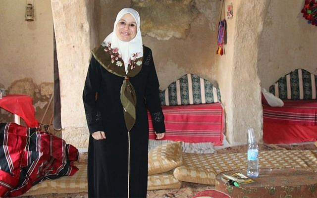 Amal Abu Karen in her venue in Lakiya, the Horiya Palace. (Shmuel Bar-Am)