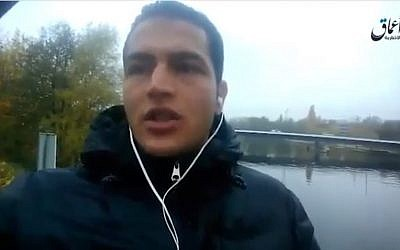 A clip shows suspected Berlin attacker Anis Amri pledging allegiance to Islamic State ahead of the truck-ramming at a Christmas market that killed 12 people (screen capture: YouTube)